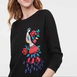 Loft peacock embroidered top